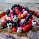 Horror themed gemstone stretch bracelet, Friday the 13th, Halloween jewelry, Gifts for him, Gifts for teens, Horror