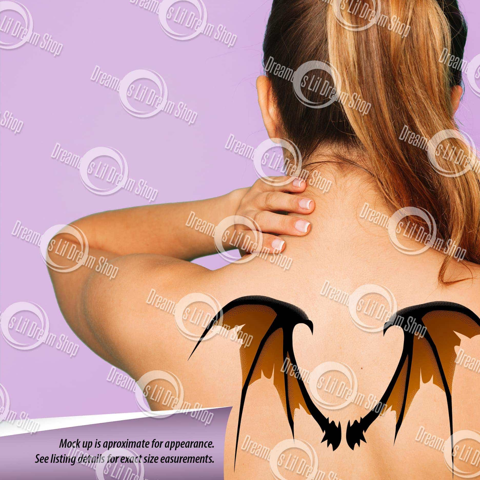 Scary Tattered Bat Wing Back Temporary Tattoo in ORANGE, MEDIUM