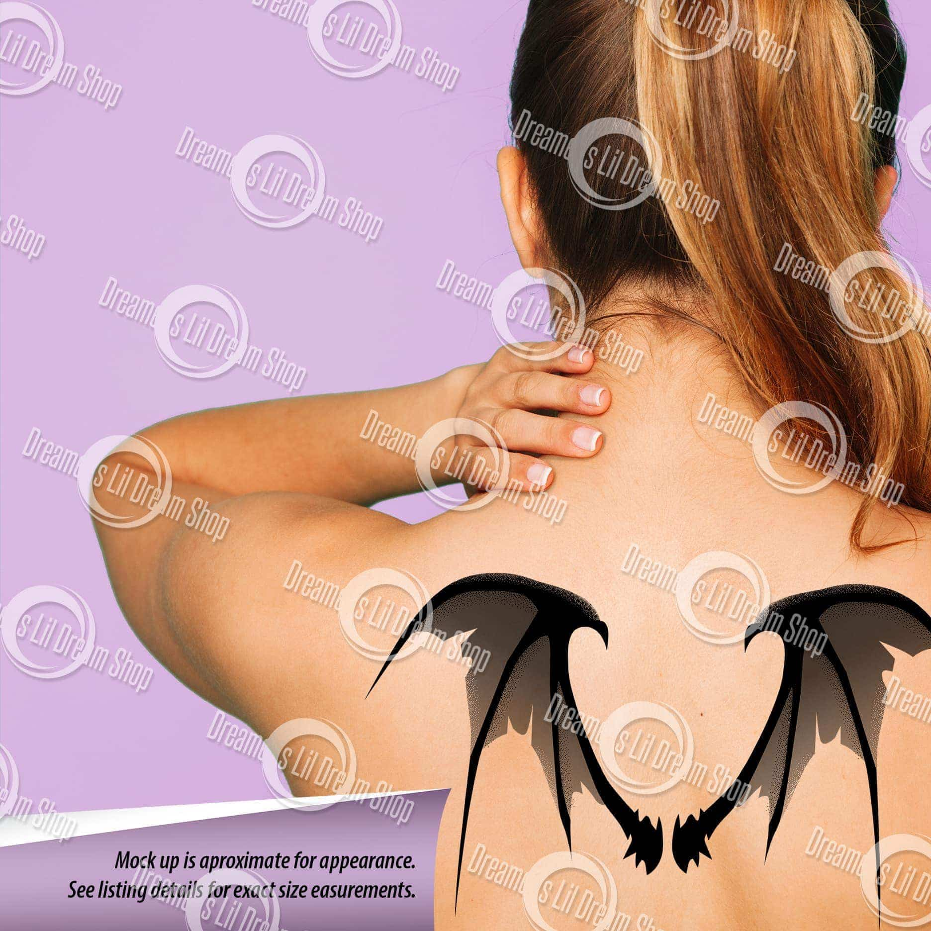 Scary Tattered Bat Wing Back Temporary Tattoo in GREY, MEDIUM