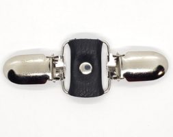 Black leather cinch clip for dresses, jackets, or shirts with silver tone clips.