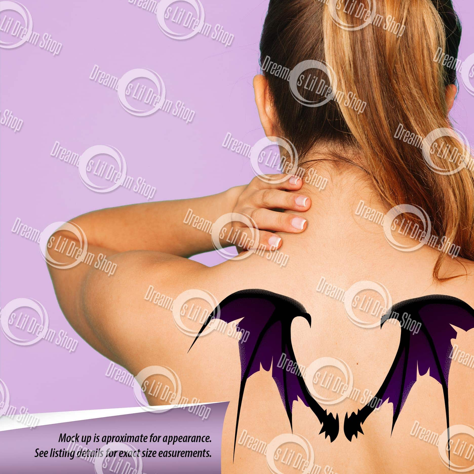 Scary Tattered Bat Wing Back Temporary Tattoo in PURPLE, MEDIUM