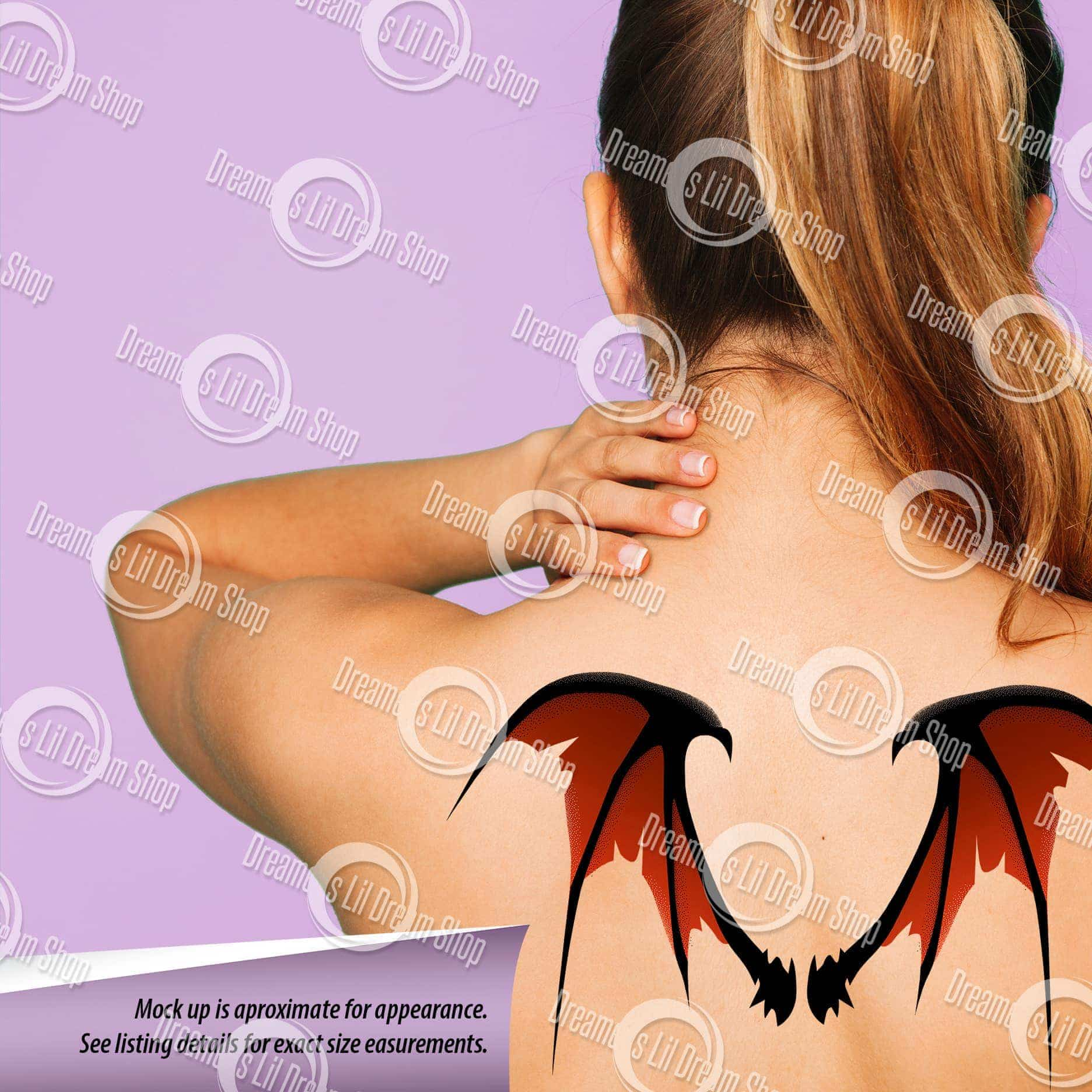Scary Tattered Bat Wing Back Temporary Tattoo in RED, MEDIUM