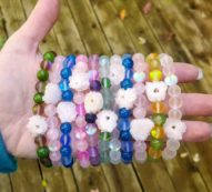 Mermaid Dreams, Gemstone stretch bracelet, Mermaid glass bracelet, Solar Quartz, Colorful jewelry, Boho fashion, Stackable bracelets, Hippie