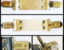 Metallic gold leather cinch clip for dresses, jackets, or shirts with bronze tone clips. Instant DIY tailoring.