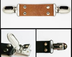 Cognac leather cinch clip for dresses, jackets, or shirts with silver tone clips. Instant DIY tailoring.