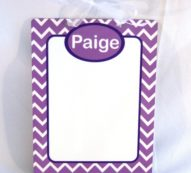 Personalized dry erase board with purple and white chevron DEB1002 7×9