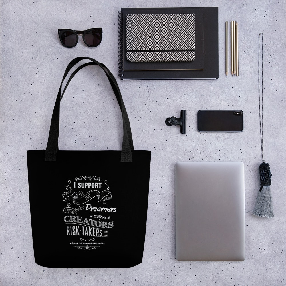Support Small Business – Black Tote bag