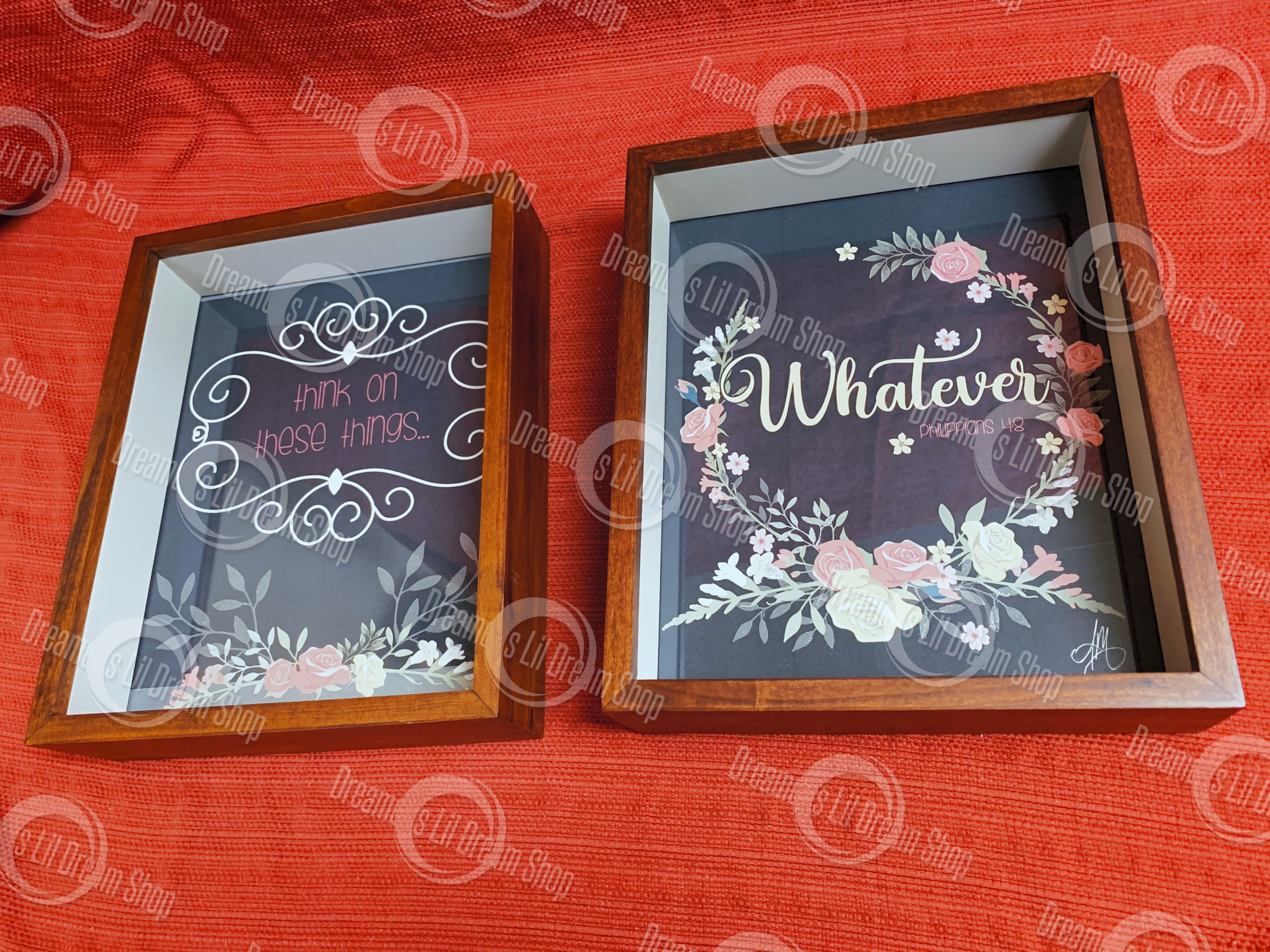 Whatever…Think on These things… Philippians 4:8 – Set of Two 8×10 Framed Prints