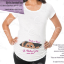 Peeking Baby Girl Maternity Shirt Iron-on Printable, Tone 4, Instant Download